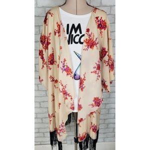 Lularoe Floral Fringe Open Kimono Wrap Large